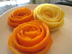 Rose made from citrus peel
