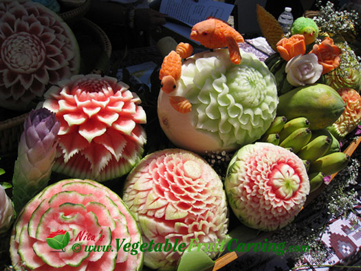 Thai carved melons