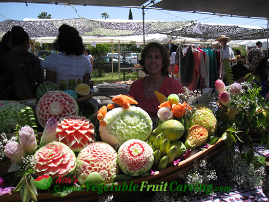Table of Thai Fruit Carvings with Nita