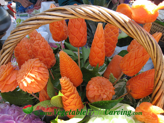 carved carrot flowers