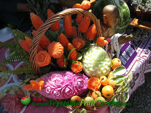 basket of Thai fruit and vegetable carvings