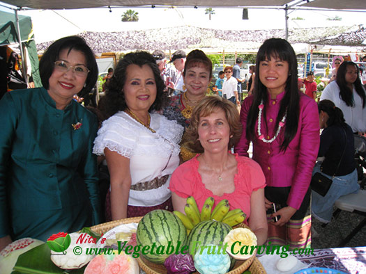 Some of the fruit carvers at Songkran Festival