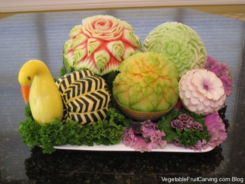 Melon fruit carving arrangement nd place winner