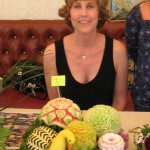 NIta Gill with 2nd place fruit carving arrangement