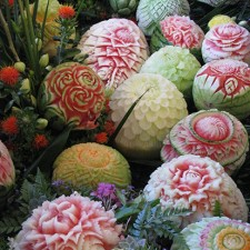 Thai Style melon carvings on display