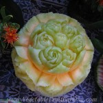 Roses, melon carving top view