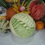 "Details of winning vegetable and fruit arrangement ""If I Only Had A Brain""."