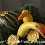 Birds made with acorn and yellow squashes
