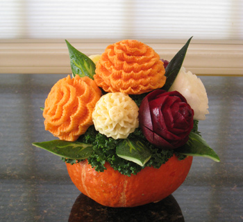 Root Vegetable Flower Bouquet for Thanksgiving Centerpiece