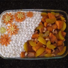 flower decorated yam dish for Thanksgiving