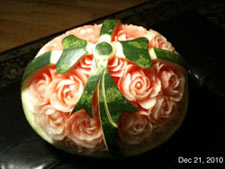 Carved Christmas Bow Watermelon