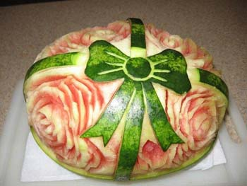 Christmas Bow Carved Watermelon