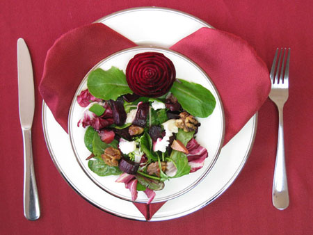 Ideas for Valentines Day Beet salad with carved beet rose