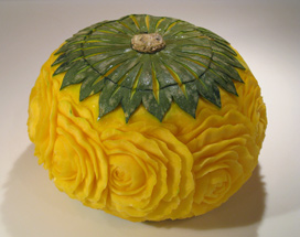 Kabocha Squash carved with Roses