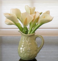 carved vegetable calla lilies