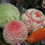 Carved melons and mango by various artists - Nita, Anne, Tina and ?