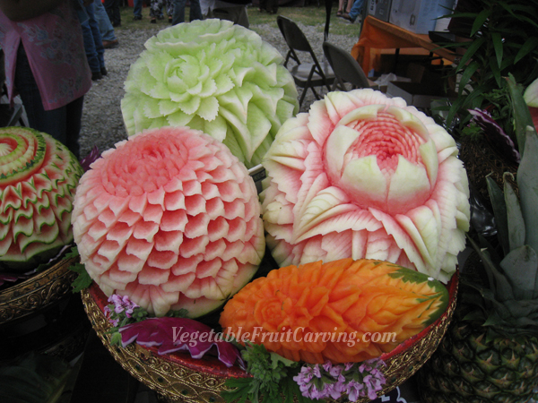 Thai fruit carvings at songkran festival