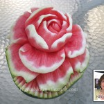 Watermelon Rose carving by Nita