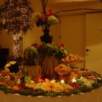 Wedding fruit display with carved fruits