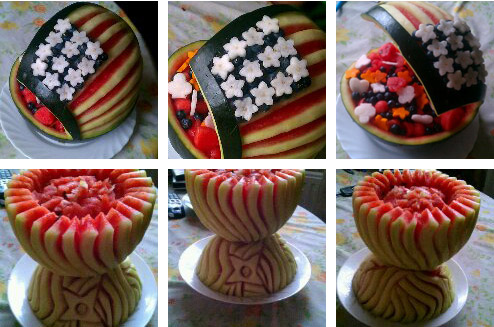 4th of July watermelon bowl carving