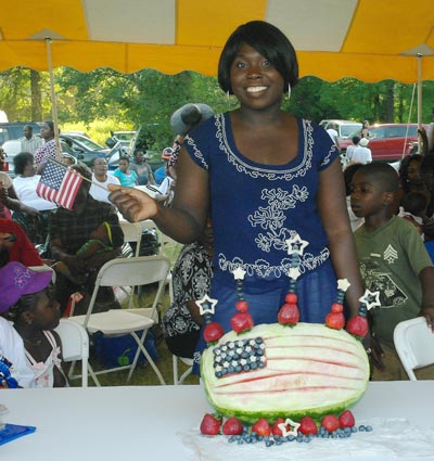 Gift Isiakpere with her 4th of July American Flag Watermelon Carving