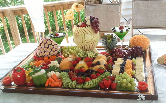 Waterfall Fruit And Veggie Displays: Wedding Fruit Display