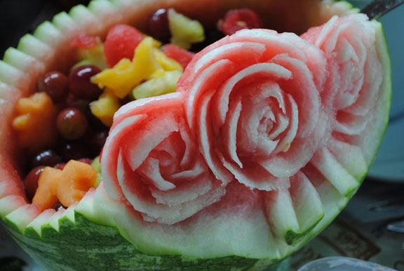 Carved watermelon roses