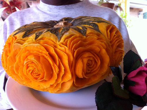 rose carvings in kabocha squash