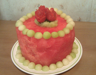Watermelon cake made by teenager, Alex