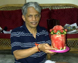 Charu with his watermelon cake