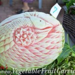 Nita Gill's swan melon carving that won the 2nd place prize