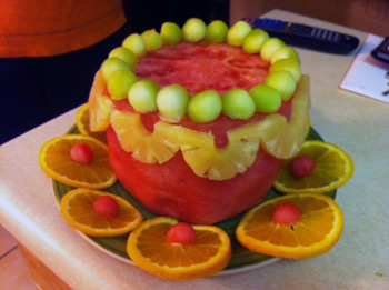 watermelon cake with orange slices