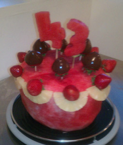 Vandoria McClain's watermelon cake for her baby brother's birthday