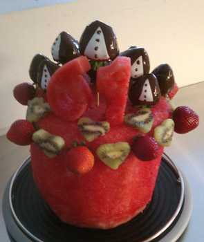 Watermelon Cake with hearts