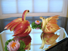 swans carved from apples