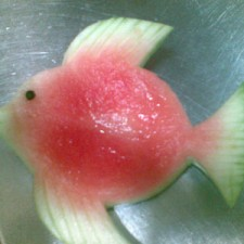 Carved watermelon rind fish
