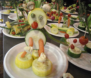 Children's vegetable carvings at The CARVE IV