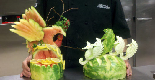 Artful Melon Rind Carvings