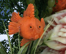 Goldfish carved from carrot