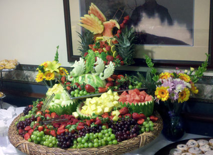 Fruit Display with Carved Melon Rind Art