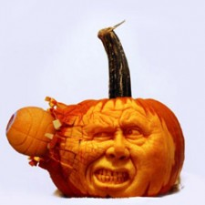 Ray Villafane pumpkin carving - baseball head