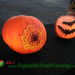 Spiders, webs and bats pumpkin carving