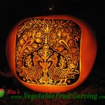 Peacocks and Flowers Pumpkin Carving