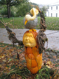Pumpkin face and vulture carved by Dean Murray
