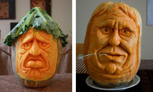 Pumpkin faces carved by Simon Muscat