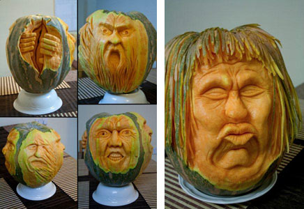 More variations of 3D carved pumpkins by Simon Muscat