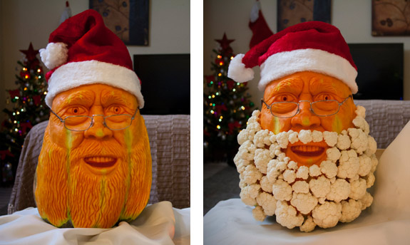 Christmas Carving -Pumpkin Santa Carved by Simon Paul Muscat