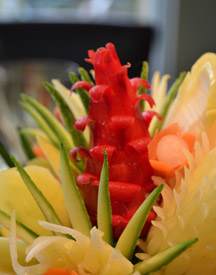 red chili flower in vegetable bouquet