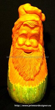 Carved pumpkin Santa by Laurent Hartman