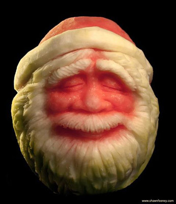 Watermelon Santa Carving by Shawn Feeney